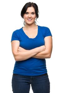 Female on White Background